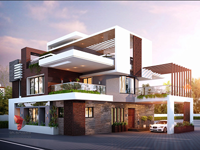 Architectural-3D-Rendering-bungalow-evening-view